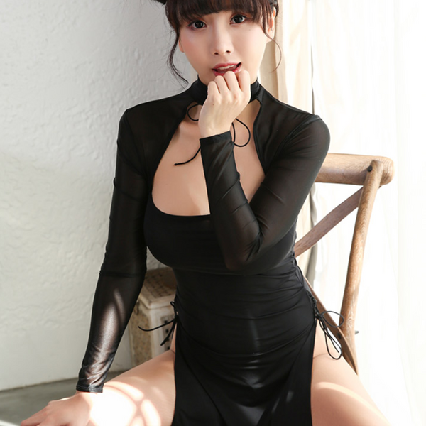 Semi-perspective high-necked classical cheongsam uniform      YC21479