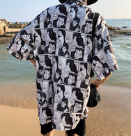 Black and white comics printed shirt YC21751