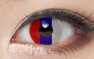 Red blue white contact lenses (two pieces) YC21579