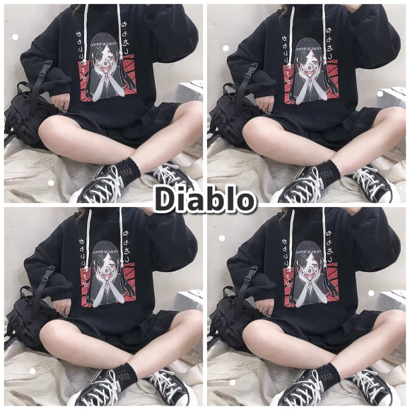Diablo hooded plus velvet sweater YC21940