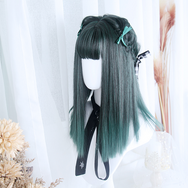 Lolita black green wig yc22220