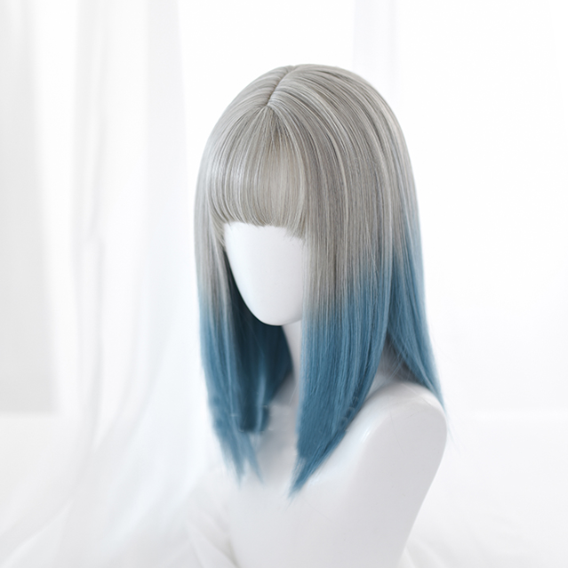 Lolita blue and gray gradient wig yc22280