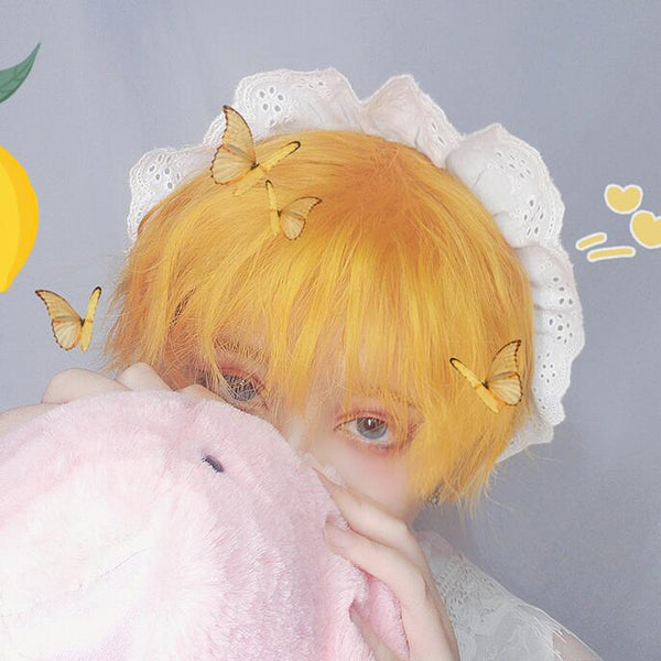 Harajuku Lemon Yellow Short Curly Wig YC23539