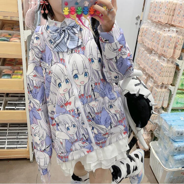 Two-dimensional cartoon hooded jacket yc23773