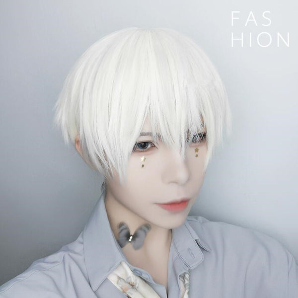 Harajuku male short white wig YC23957