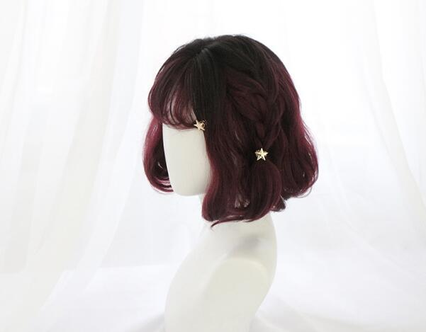 Burgundy Mixed Curly Short Wig YC40006