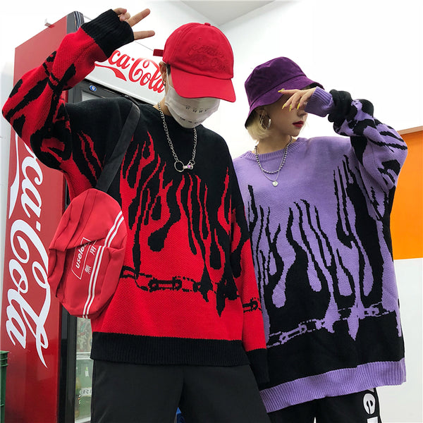 Flame red purple sweater yc22329