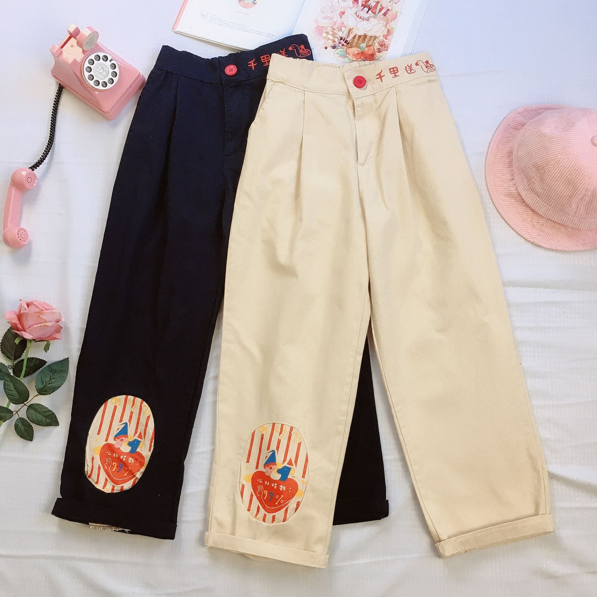 Japanese cute embroidered casual pants yc20599