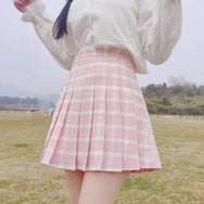 Lolita high waist plaid skirt   YC21398