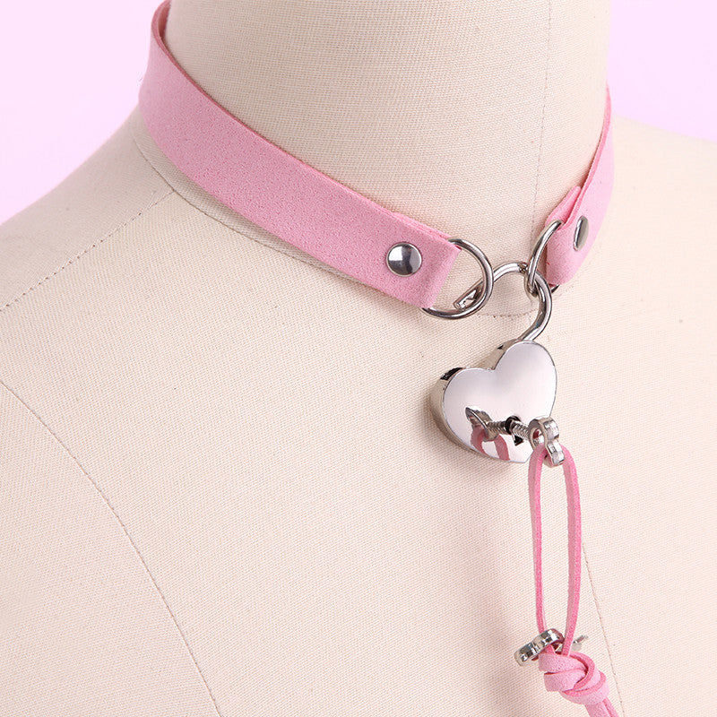 Harajuku pu leather love lock collar YC20192