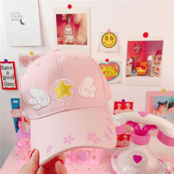 Cardcaptor Sakura Pink Winged Star Embroidered Baseball Cap  YC30013
