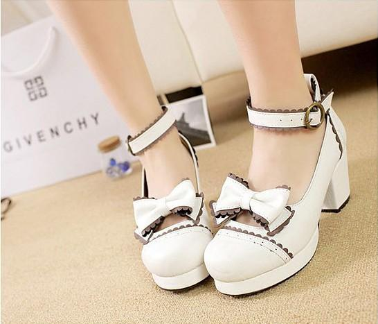 lolita bow tie strap high heel shoes YC30040