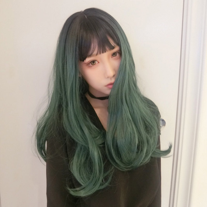 Cute green black gradient wig yc20661