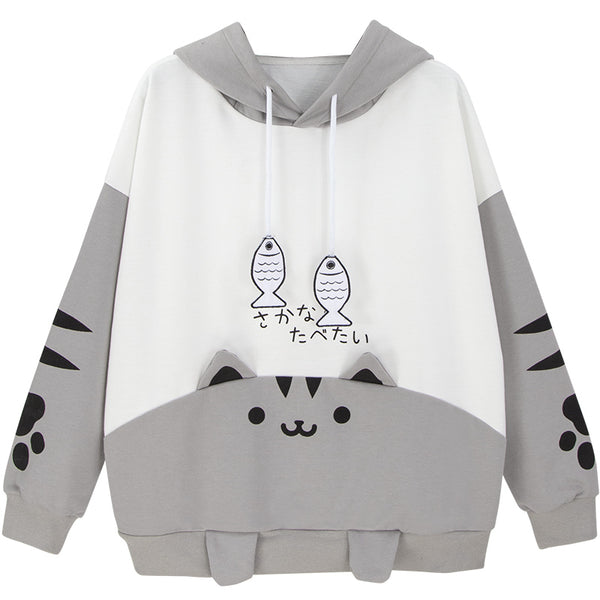 Cute Cat Backyard Stitching Sweater YC20094