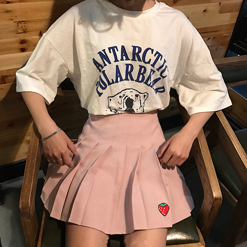 Cute Strawberry Pleated Skirt yc21018