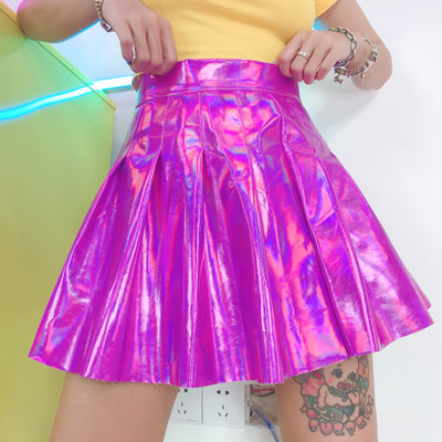 Laser high waist pleated skirt YC21922