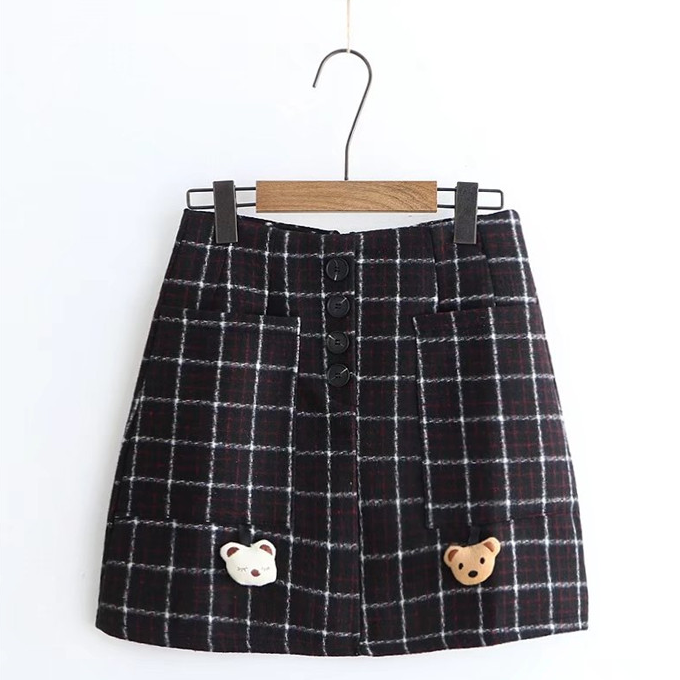 Retro bear plaid skirt yc20971
