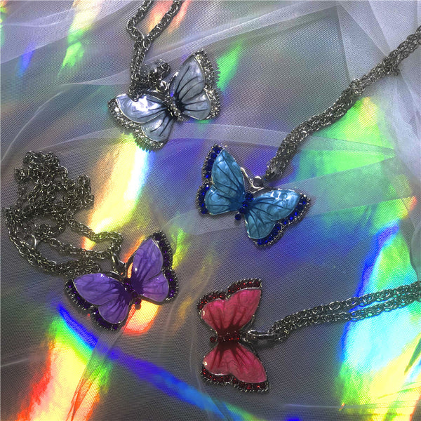 Vintage butterfly necklace yc22942