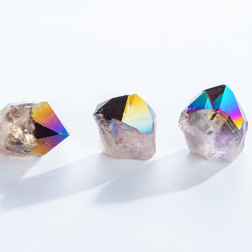 Rainbow Aura Amethyst Crystal Points