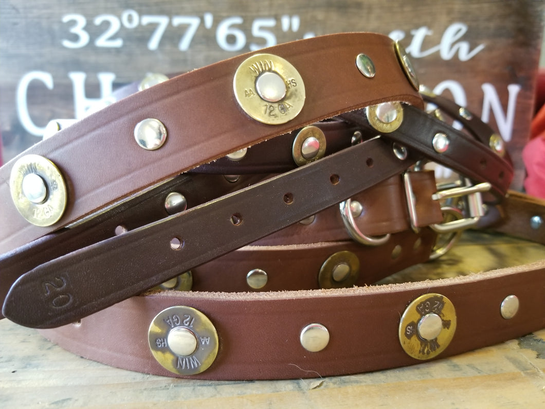 Shotgun Primer Leather Dog Collars