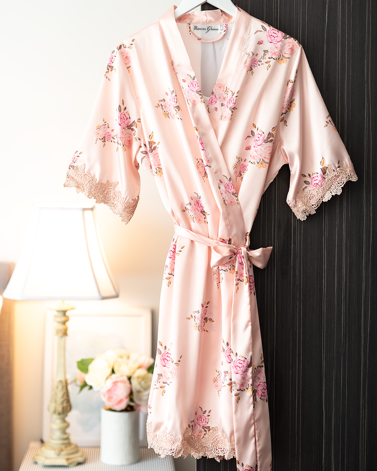 Floral Satin Robe | Champagne | Bridal, Maternity, Women's Robes | Boutique Range
