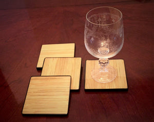 4 Piece Square Split Bamboo Coasters