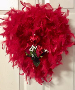 Red Heart Shape Feather Wreath