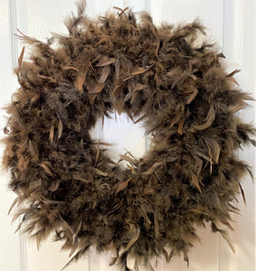 Espresso Brown Feather Wreath