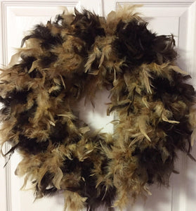 Two Tone Brown Feather Wreath
