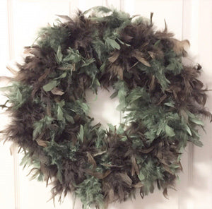 Chocolate - Pine  Feather Wreath