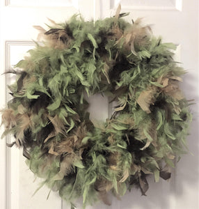 Moss,Gold & Chocolate Feather Wreath