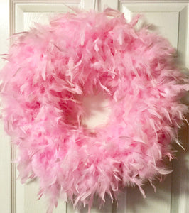 Candy Pink Feather Wreath