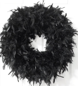 Victorian Black Feather Wreath