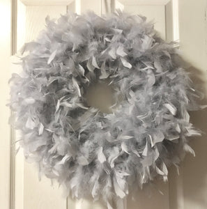 Plain Heather Gray Feather Wreath