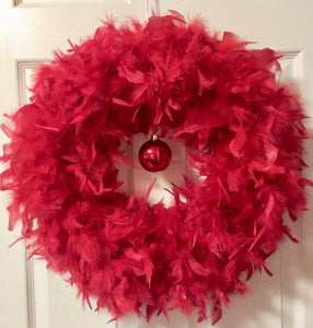 Christmas Red Feather Wreath with Red Ball