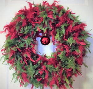 Red & Pine Feather Wreath