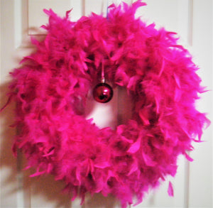 Fuschia Feather Wreath