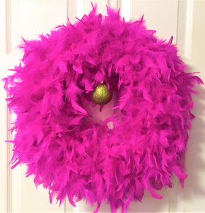 Fushia with Glitter Apple Ball Feather Wreath