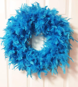 Turquoise Blue Feather Wreath