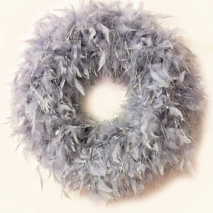 Heather Gray & Silver Tinsel Feather Wreath