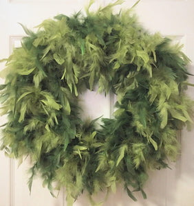 Forest Garden Green Feather Wreath