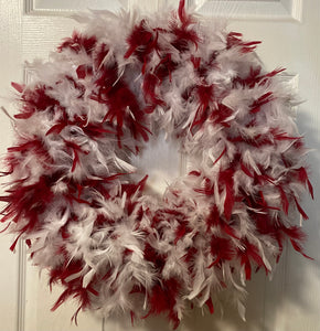 Cranberry Red with White Feather Wreath