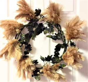 Golden Flower Feather Wreath
