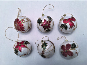 6 pc Round Oyster Skin Shell Hanging Ornament