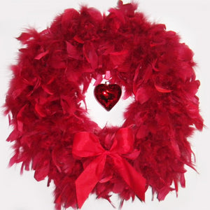 Valentine's Red Feather Wreath