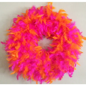 Hot Pink and Orange Feather Wreath