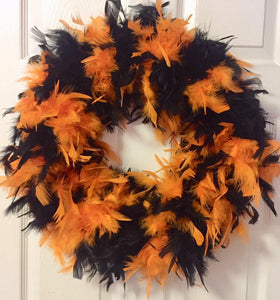 Reddish Orange with Black Feather Wreath