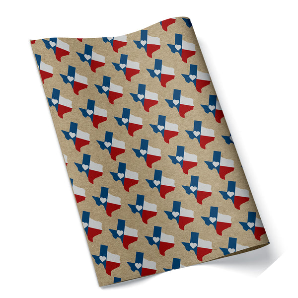 Texas Heart Flag Wrapping Paper