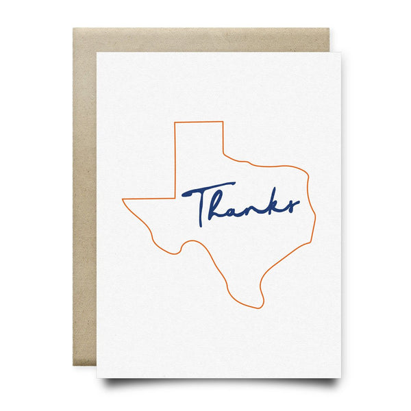 Texas Thank You Card | Orange and Blue - Cards