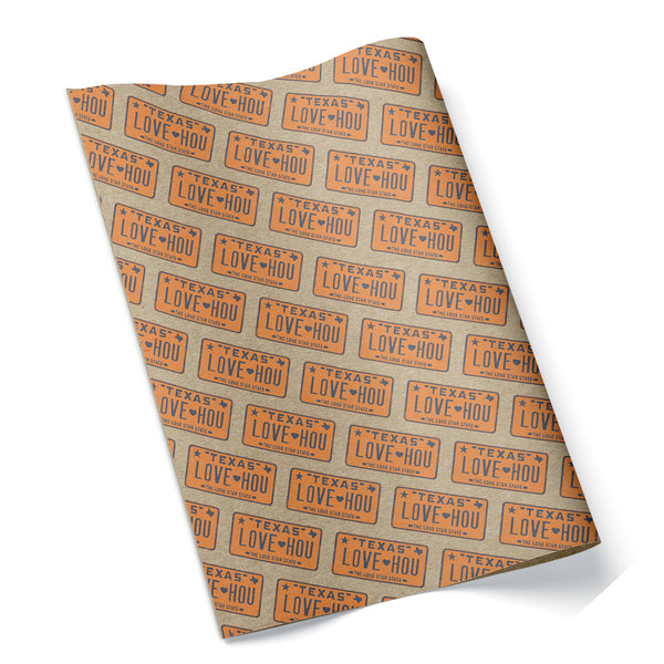 LOVE HOU Texas License Plate Wrapping Paper Orange and Blue
